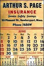 Arthur Page Insurance 1941 Calendar (image)